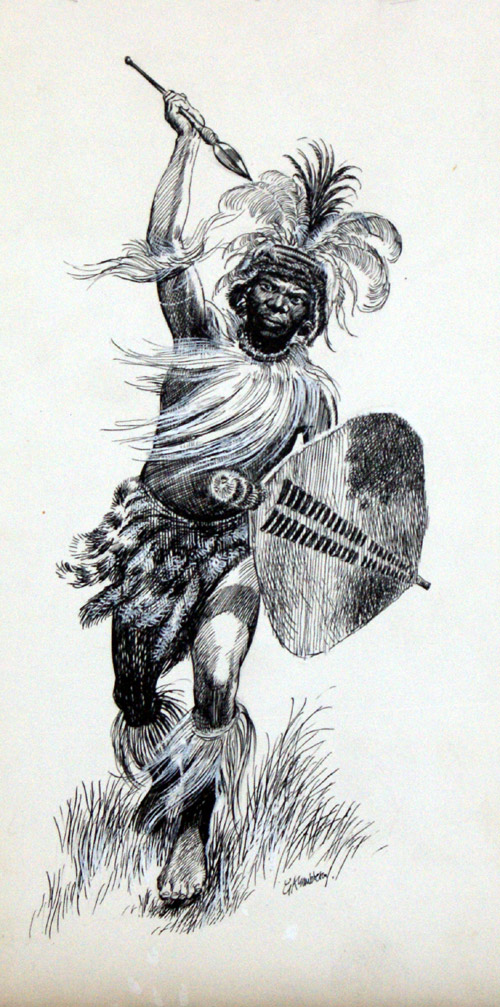 Warrior Charge  Original   Signed  art by Gerry EmbletonZulu Shield Drawing