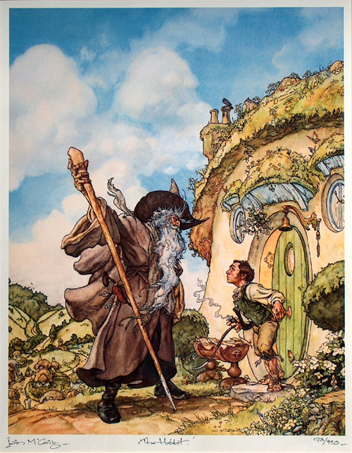 Gandalf and Bilbo in front of Bag-End