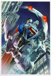 Justice #4 Cover art featuring Superman and Bizarro (Original)