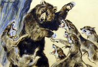 Bear Attacked by Wolves (Original) (Signed)