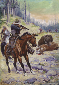 Shooting a Bear in the Wild West (Original) (Signed)